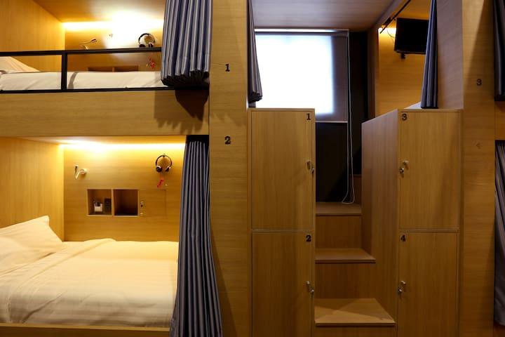 6 Bunks  mixed dormitory shared bathroom