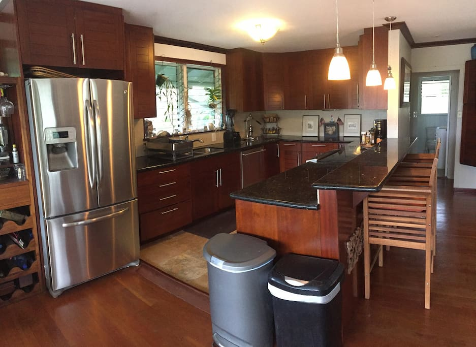 Fully loaded kitchen with stainless steel appliances, induction oven and stove, dishwasher and disposal.