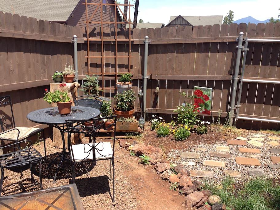 Private backyard sitting area