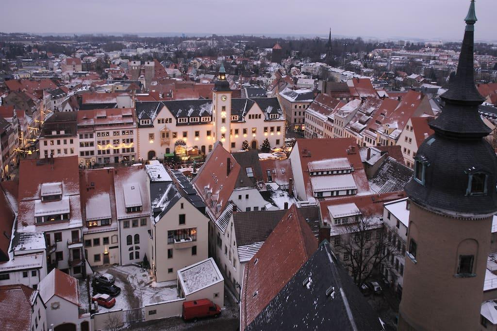 Obermarkt in winter, Freiberg
