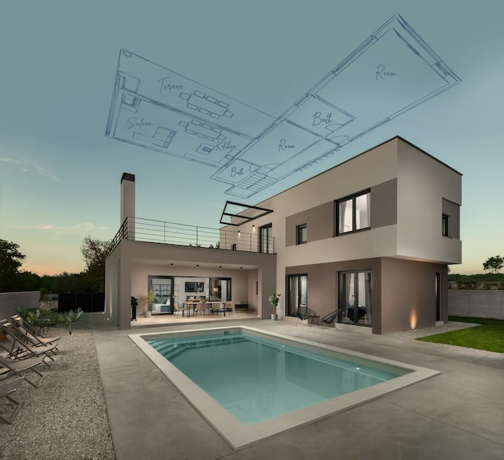 Luxury villa with pool and volleyball court