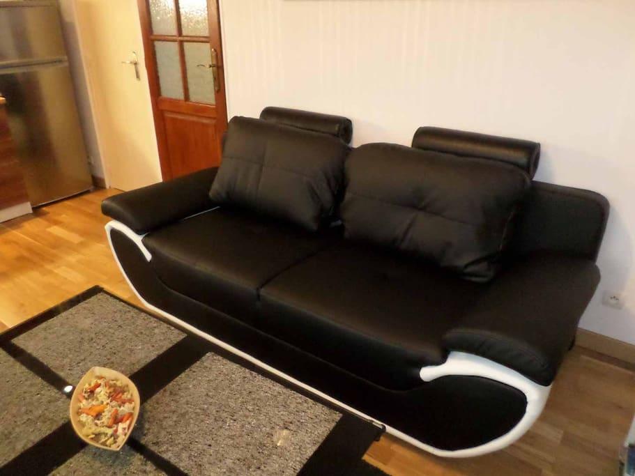 Un salon avec un canapé en cuir tout neuf!