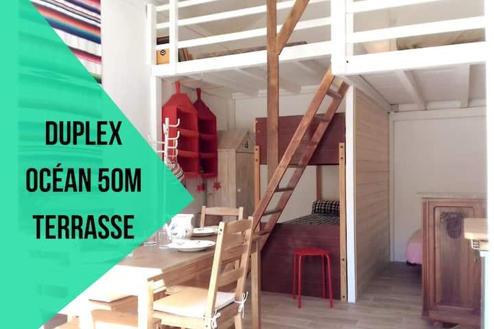 Le Gouf : océan 70m★duplex★terrasse★jardin