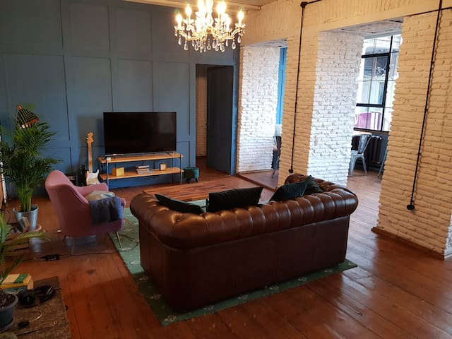 All furniture in the living room and in the apartment is custom-made.