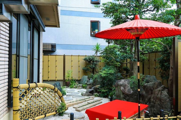 大阪市中心獨棟高級民宿、總面積481 ㎡ 、帶有日式庭園免費停車場、直達難波·心斎橋·日本橋(星辰)