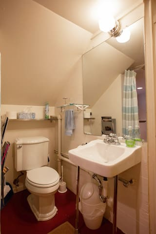 The toilet and brand new pedestal sink are curtained off from the sweet kitchenette.
