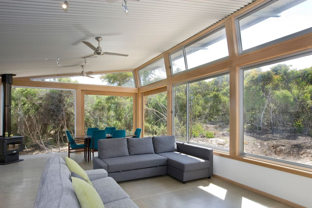 view from indoors to outdoor scrub