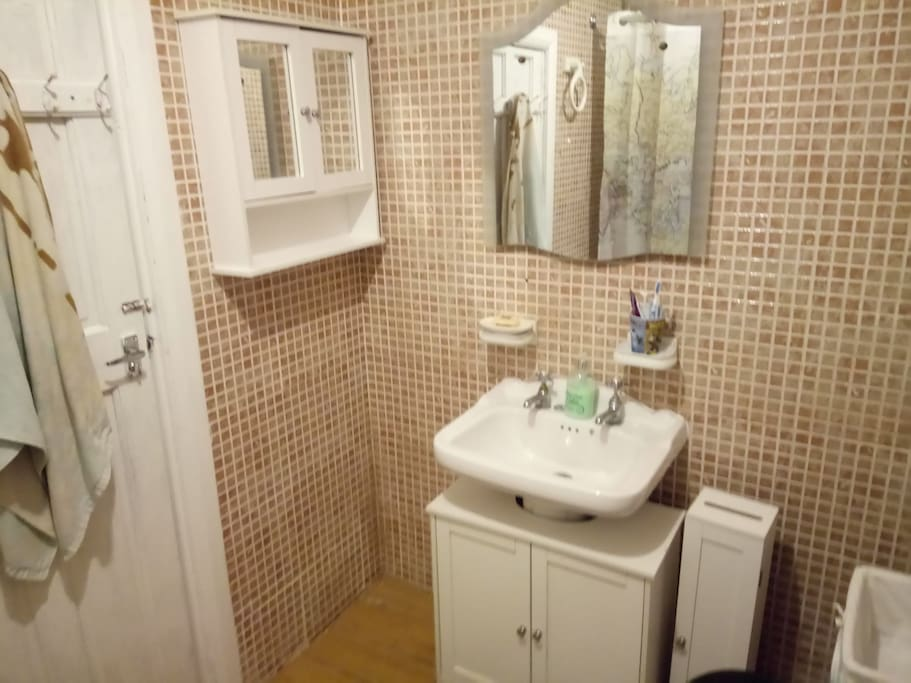 Bathroom - sink, mirror, hangers for towels, cabinet