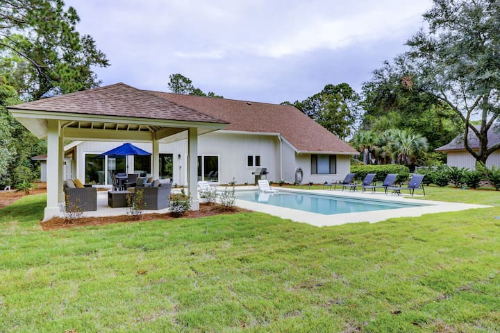 Renovated, spacious home with a private pool and large backyard w/ seating!