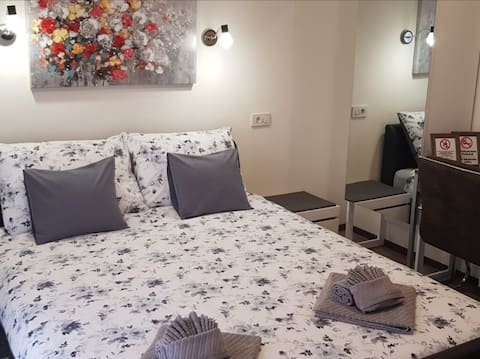 Room with double bed and private bathroom