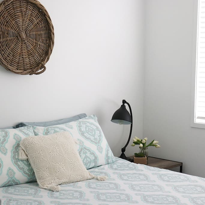 Bedroom number 1 has a comfortable, modern styled Queen size bed. Room is equipped with ceiling fan and built in wardrobe