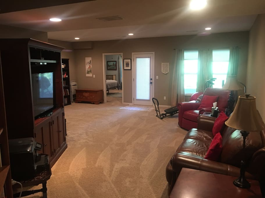 """Large """"activity"""" room. Media center. Wii game system. Hundreds/thousands of DVD' and CD's to view or listen to. The """"collection"""" is extensive and eclectic."""