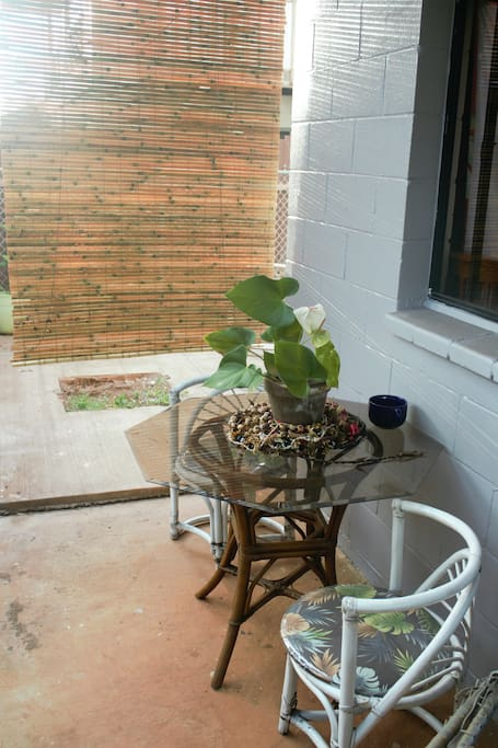 Back patio off of private entrance. It's a lot larger than it looks here.