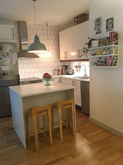 The kitchen has been recently renovated and is fully equipped with fridge, freezer, dishwasher and coffee maker. Of course you will use all kitchen utensils and kitchen equipment