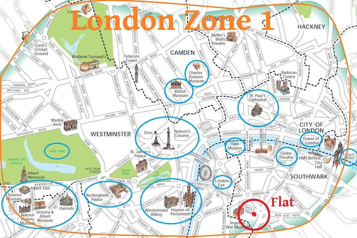 Huge Private room King-bed * 15' walk London Eye - Londra - Appartamento