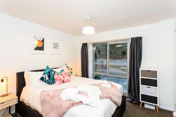 Bedroom with backyard