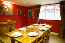 Dining room table extends to seat 14