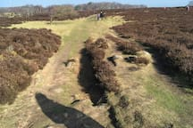 View of the Stanton Moor dry walk. This a stunning walk with 360 views over the Derbyshire countryside. Pubs to visit are the Childers in Stanton-in-the-peak or The Druids in Birchover.