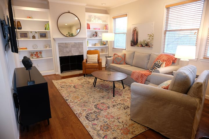Spacious living area with comfy pottery barn furniture.