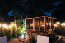 Enclosed hot tub private to space.  The yard space has cafe lighting that guests control.