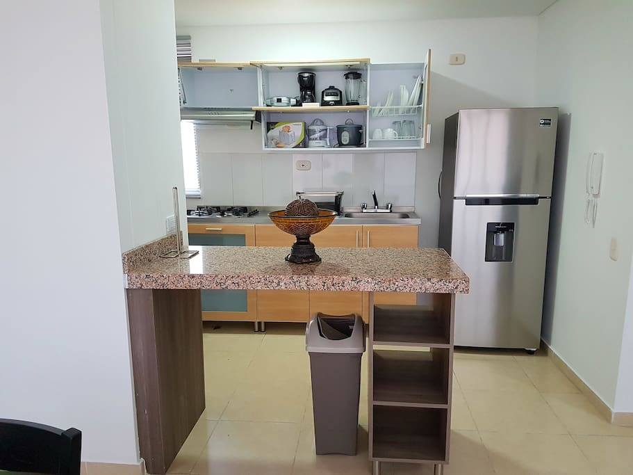 Complete kitchen, just bring your food. As a courtesy we provide some breakfast ingredients and snacks.