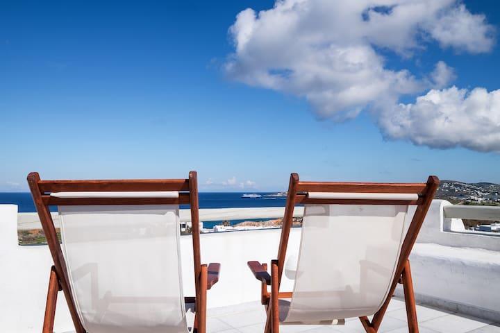 Sea&Sunset view villa | 300m from Parasporos Beach
