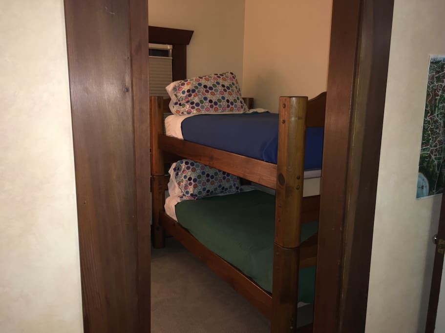 Bunks with standard size twin mattresses.