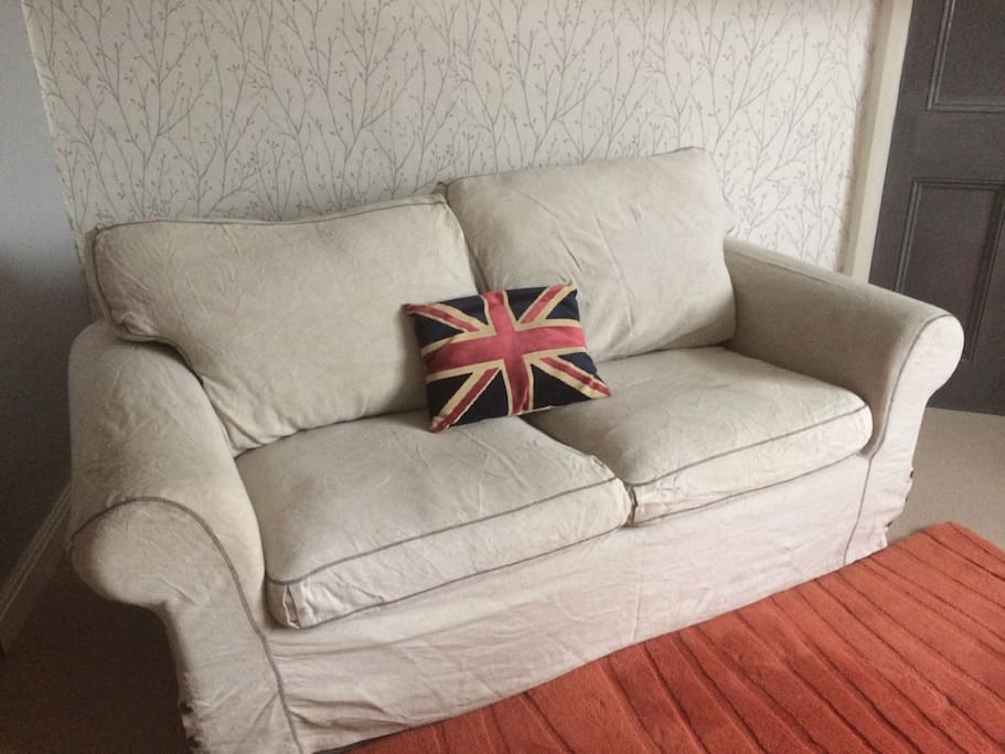 Comfy sofa for watching television.