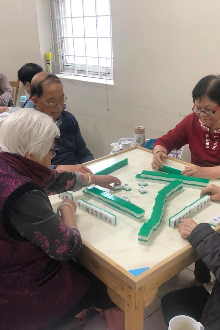 Elders playing mahjong
