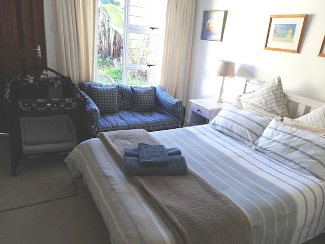 Big sunny room with sleeper coach and camping cot.