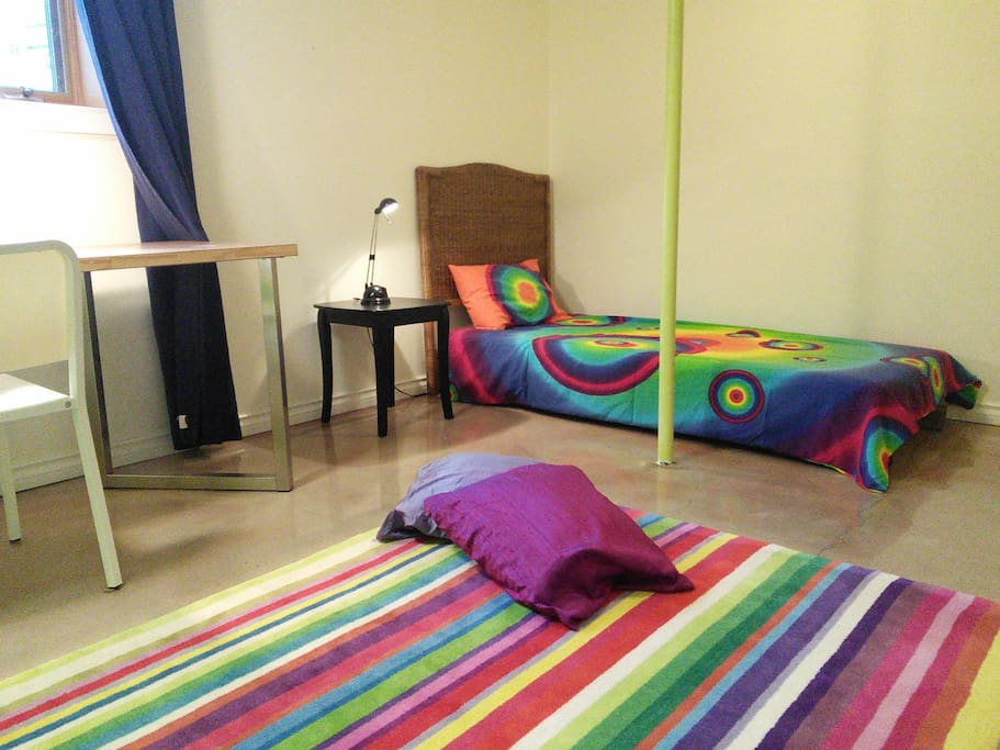 Bedroom size of a studio suite. In-floor heat with own control.  Wired/wifi internet.