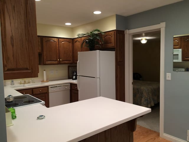 Modern, fully equipped kitchen next to bedroom #2.