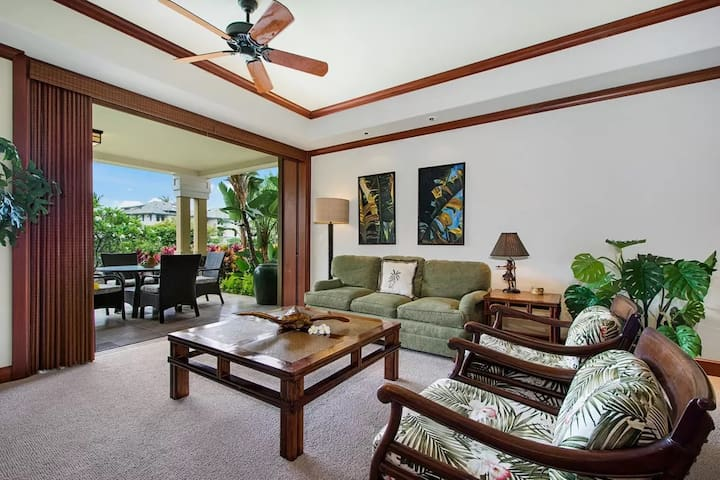 Comfortable common area leading out to the garden lanai.