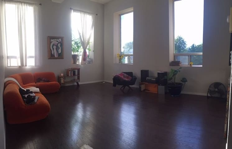 beautiful spacious loft with 18 ft ceilings