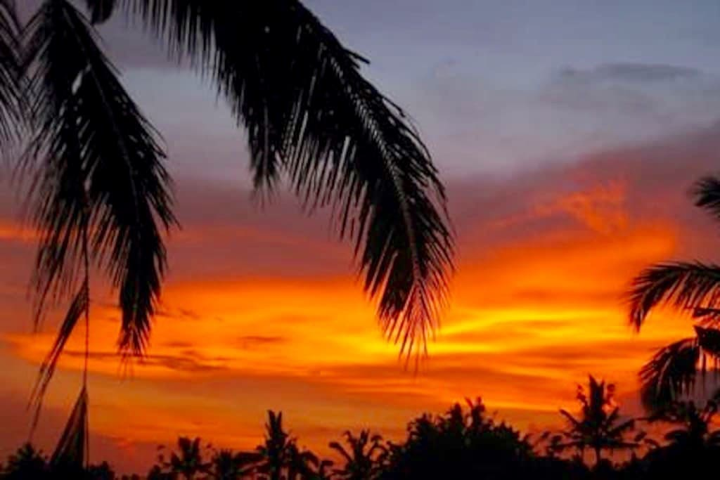 Home with amazing sunset