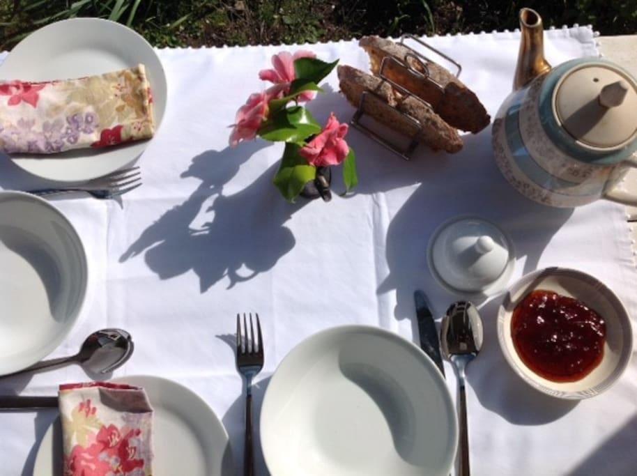 Breakfast outside weather permitting