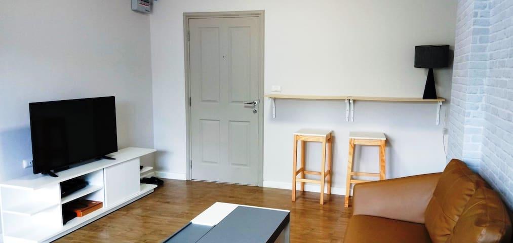 Studio unit with garden view on first floor.