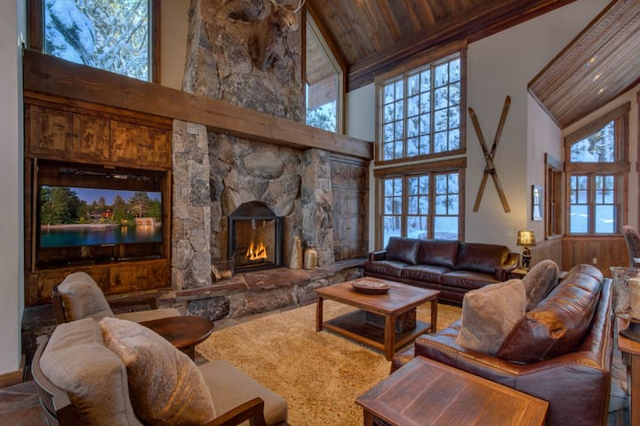 great room with large gas fireplace