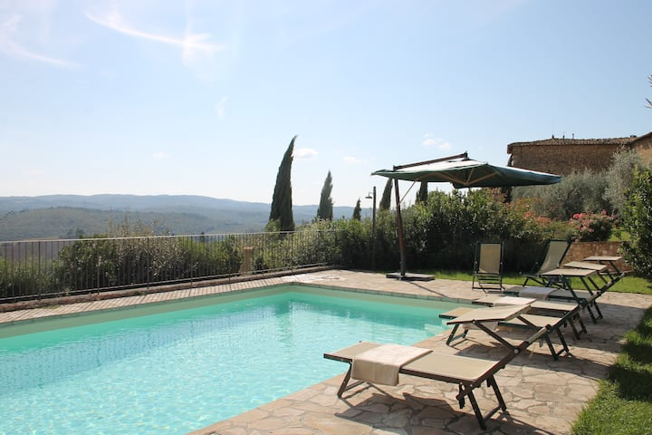 House on the hills of Chianti with stunning views!