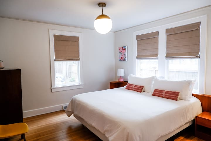 Peach Pad back bedroom with a king size bed!