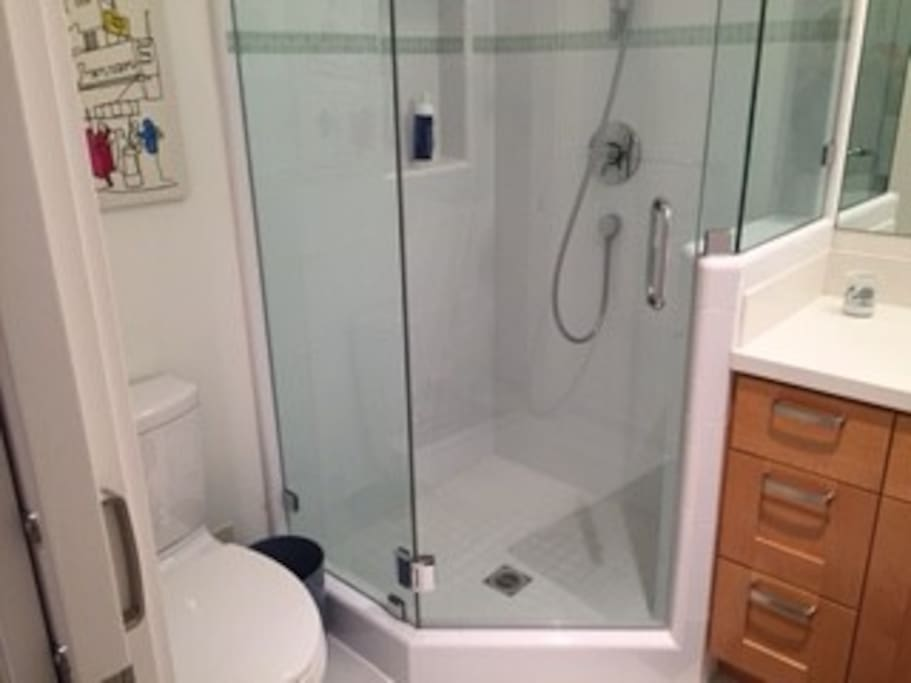Shower, toilet and sink