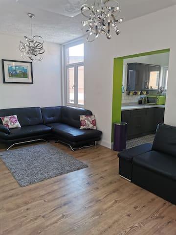 Lounge with large corner sofa