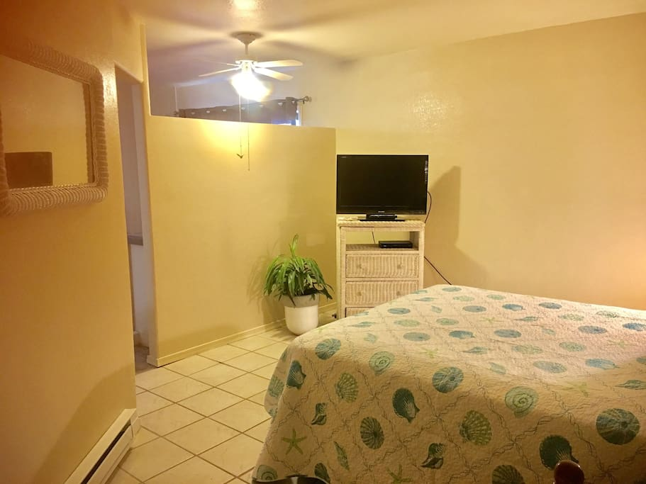 Bedroom area offers cable TV and wireless internet