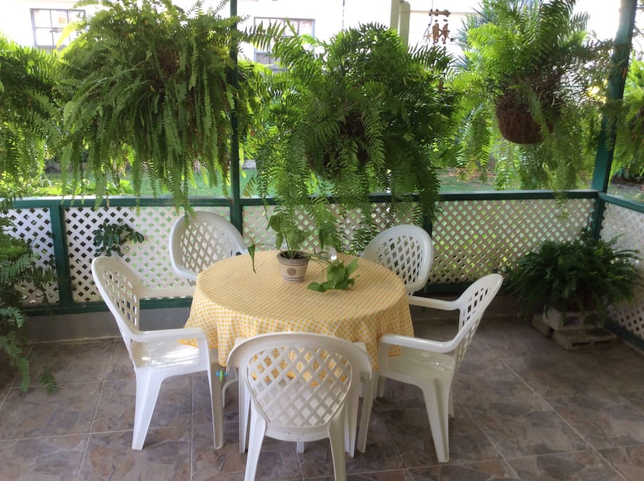 Lush greenery surrounding a patio which is ideal for breakfast or surfing the net.