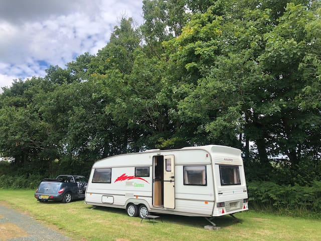 Self tow caravan, or ready pitched in Tamar Valley
