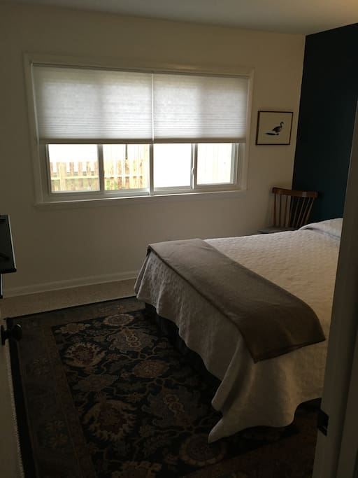 Large windows make the guest room naturally bright during the day, light filtering privacy shades allow you to enjoy both natural light and privacy!