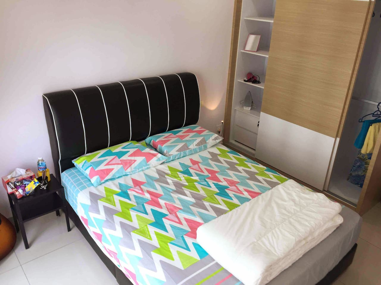 Queen size bed with big wardrobe, air-conditioners, fans