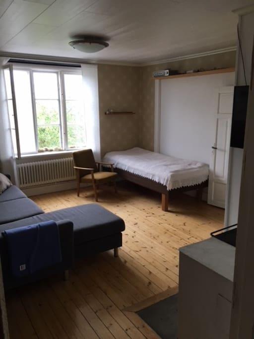 Vardagsrum med säng