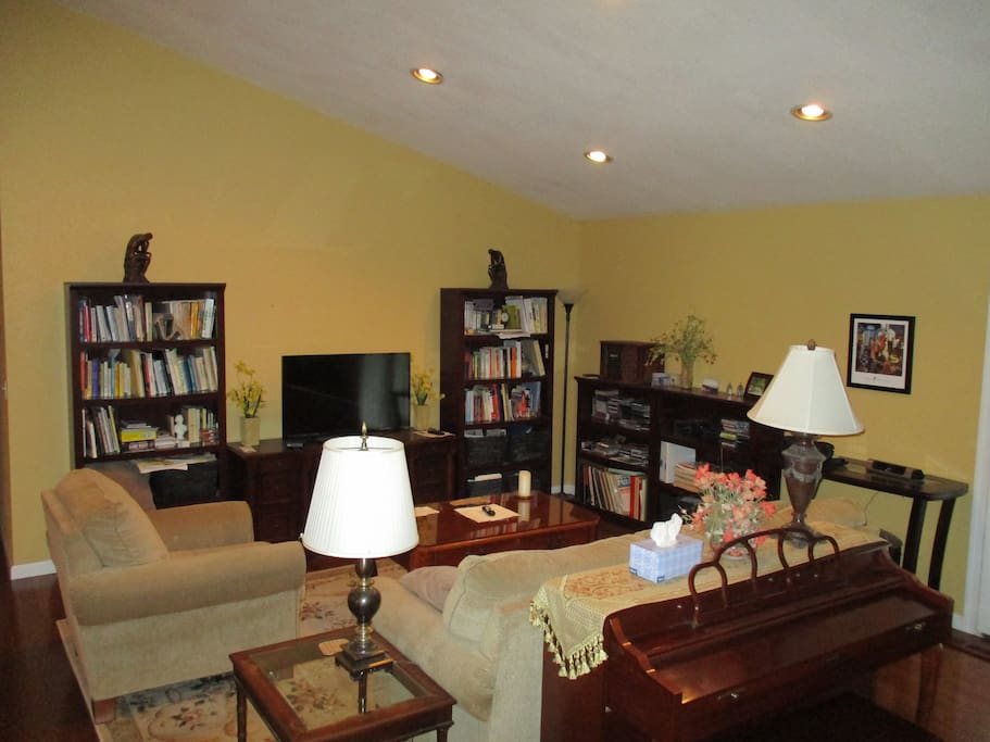 """Living room. 42"""" smart TV. Separate I-phone speaker system, I-Pad recharger. Sofa pulls out to a queen-sized sleeper."""
