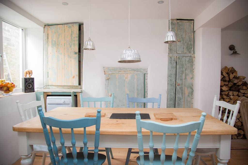 Farmhouse dining table in the kitchen